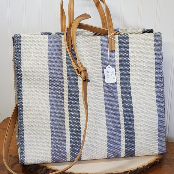 Blue and cream stripe bag with strap